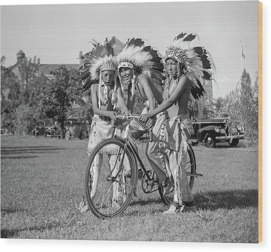 Native Americans With Bicycle Wood Print