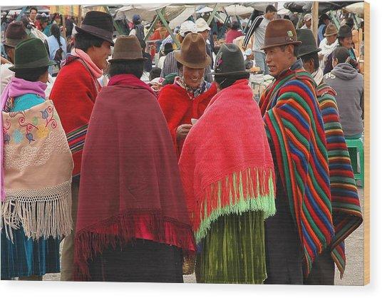 Native Ecuadorians At Market Wood Print by Alan Lenk