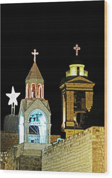 Nativity Church Lights Wood Print