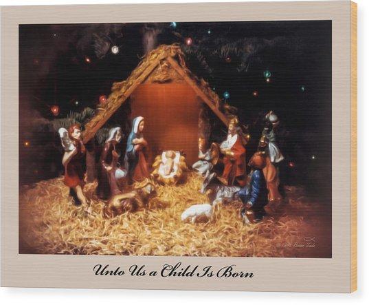 Nativity Scene Greeting Card Wood Print
