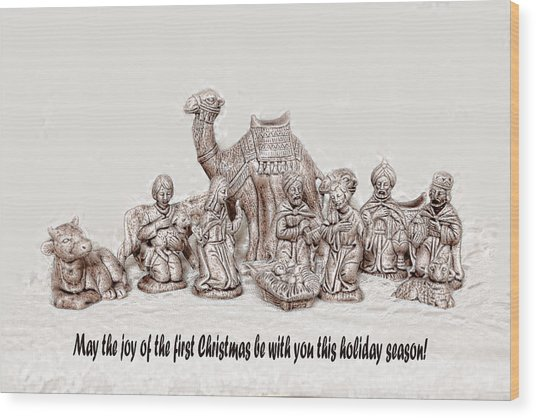 Nativity Scene In Sepia Wood Print by Linda Phelps