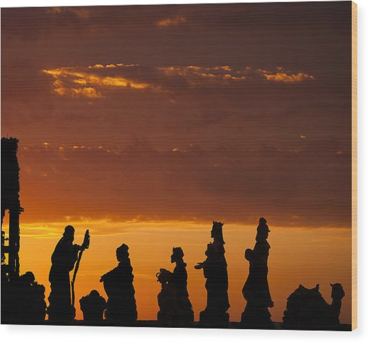 Nativity Sunrise Wood Print