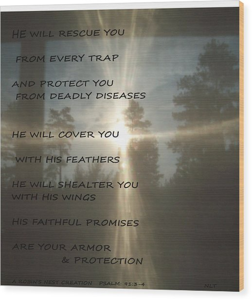 Natural Sun Cross Psalm Nlt Wood Print