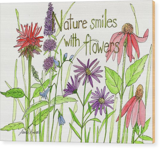 Nature Smile With Flowers Wood Print