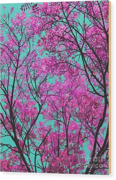 Natures Magic - Pink And Blue Wood Print
