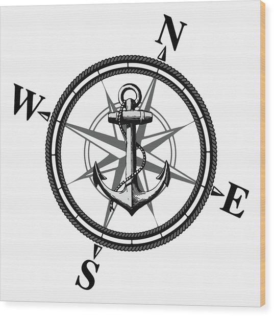 Nautica Bw Wood Print