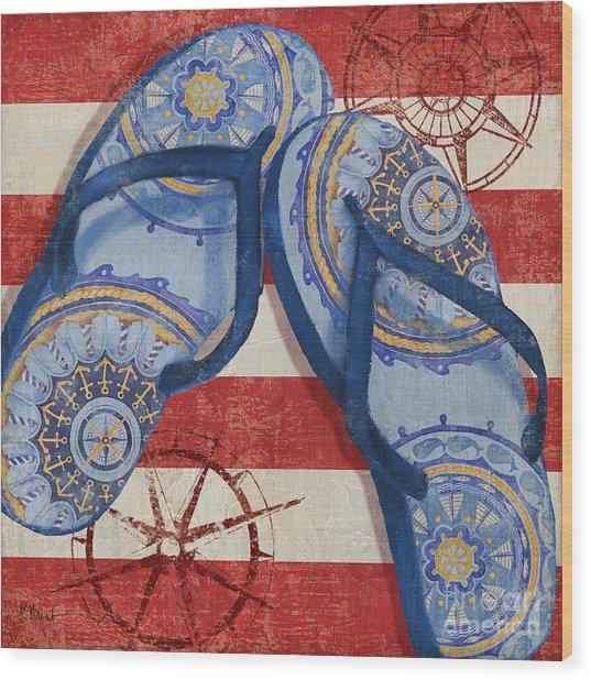 Nautical Flip Flops II Wood Print by Paul Brent