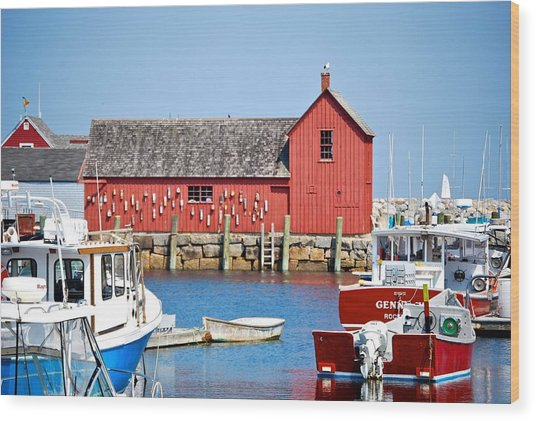 Nautical Rockport Days Wood Print