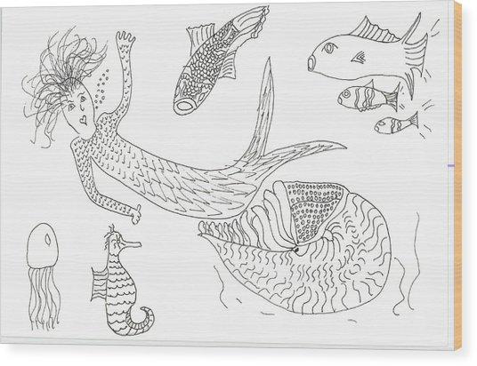 Nautilus And Hello Mermaid Wood Print