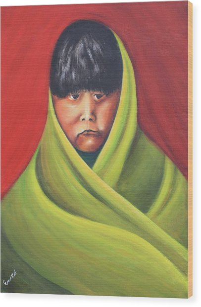 Navajo Child After E.s. Curtis Wood Print