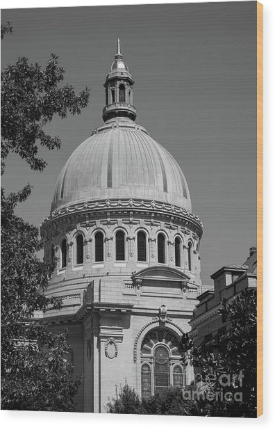 Naval Academy Chapel - Black And White Wood Print