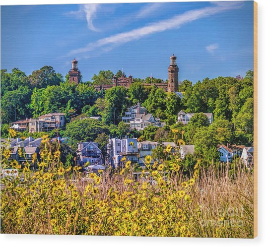 Navesink Light On The Hill Wood Print