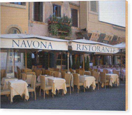 Navona Ristorante Wood Print by Nancy Ferrier
