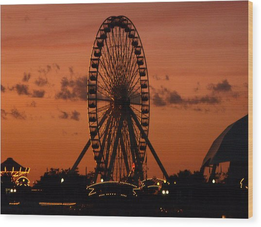 Navy Pier At Sunset Wood Print by Jean Gugliuzza