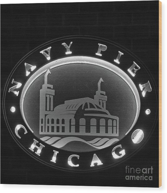 Navy Pier Chicago Sign Wood Print