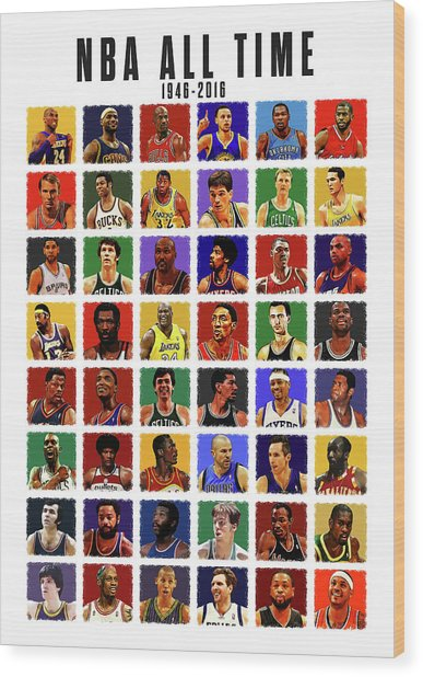 Nba All Times Wood Print