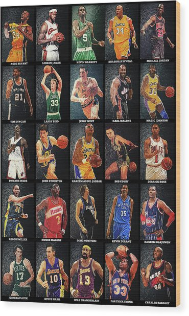 Nba Legends Wood Print