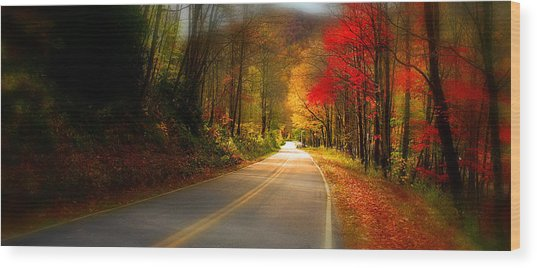 Nc Mountain Fall Drive Wood Print