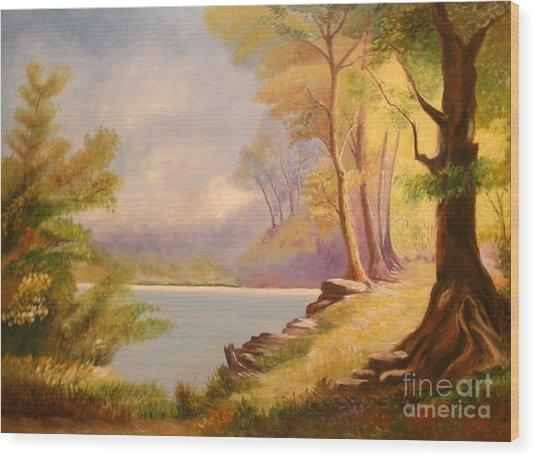 Near The Lake Wood Print by Cilinha