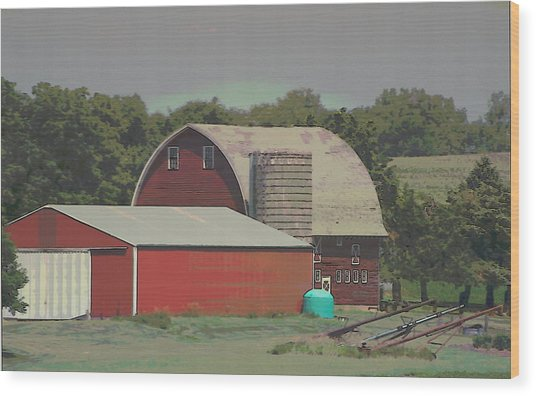 Nebraska Farm Life - The Family Farm Wood Print