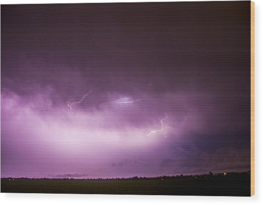 Nebraska Night Thunderstorms 013 Wood Print