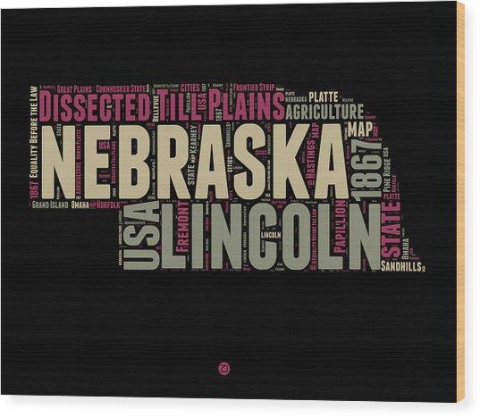 Nebraska Word Cloud 1 Wood Print
