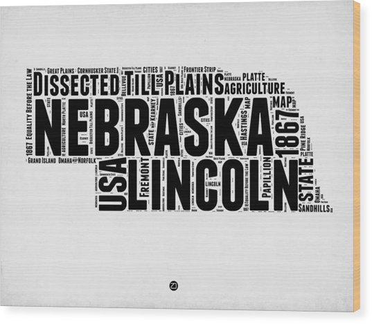 Nebraska Word Cloud 2 Wood Print