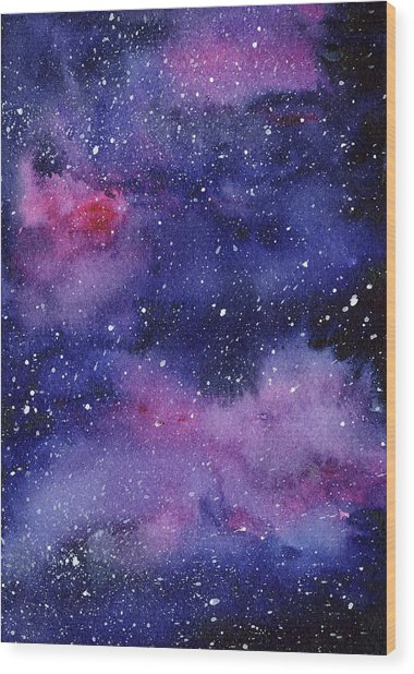 Nebula Watercolor Galaxy Wood Print