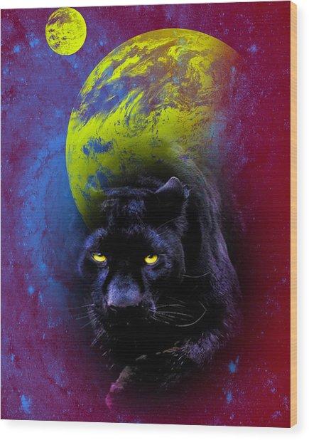 Nebula's Panther Wood Print