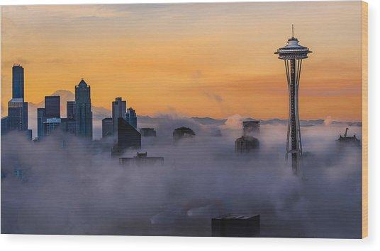Needling The Fog Wood Print