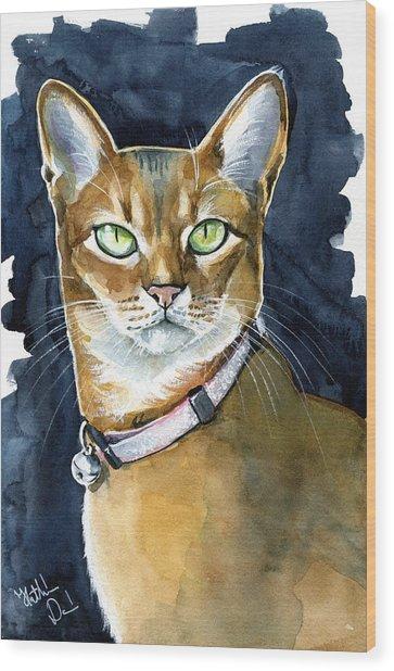 Nefertiti - Abyssinian Cat Portrait Wood Print