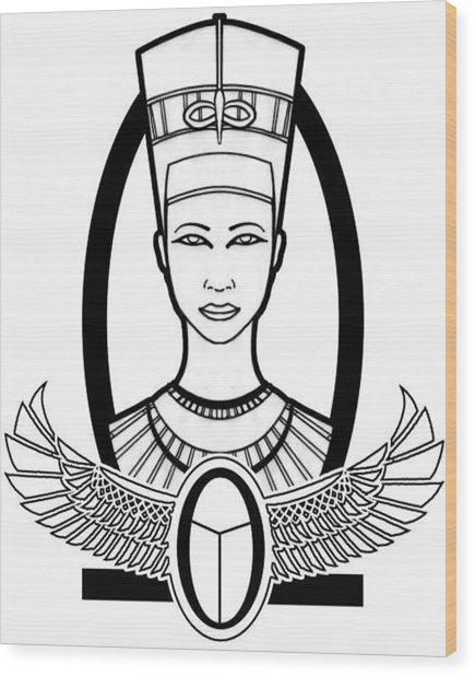 Nefertiti Wood Print by Alysa Sheats