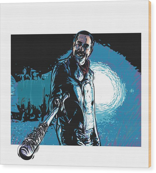 Wood Print featuring the digital art Negan by Antonio Romero