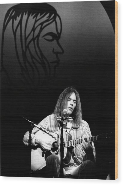 Neil Young 1976 Wood Print