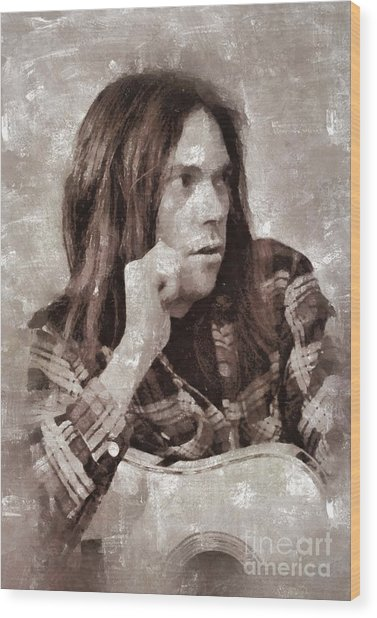 Neil Young By Mary Bassett Wood Print