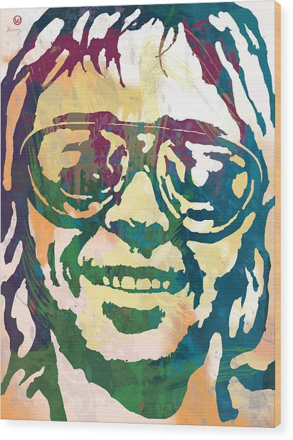 Neil Young Pop Stylised Art Poster Wood Print