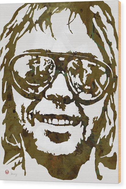 Neil Young Pop  Stylised Art Sketch Poster Wood Print