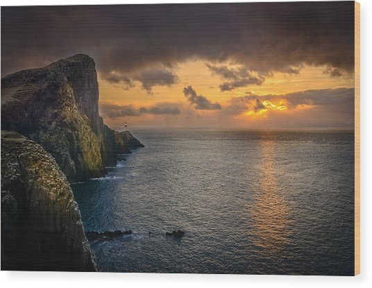 Neist Point Lighthouse Isle Of Skye Wood Print