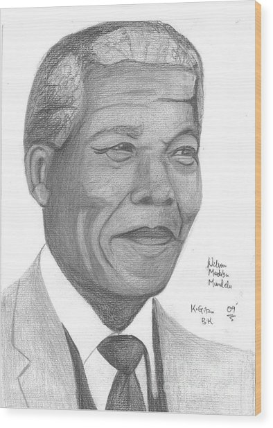 Nelson Mandela Wood Print by Chris Gitau