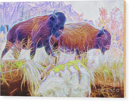Wood Print featuring the digital art Neon Bison Pair by Ray Shiu