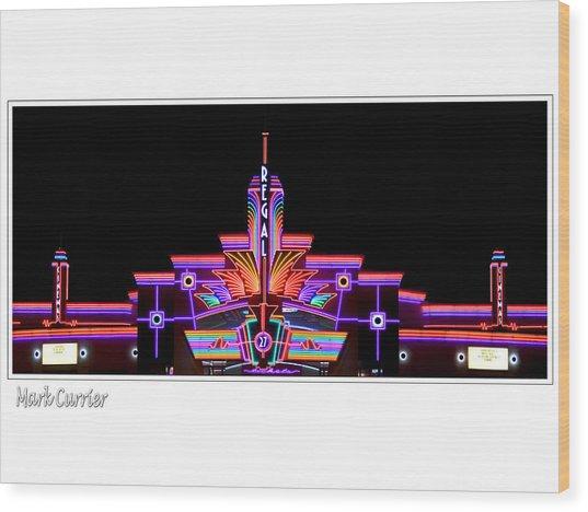 Neon Cinema Wood Print