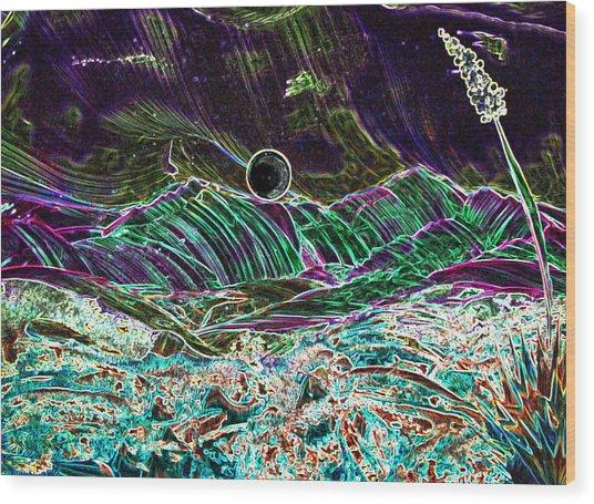 Neon Moon Wood Print