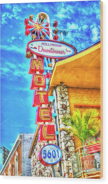Neon Motel Sign Wood Print