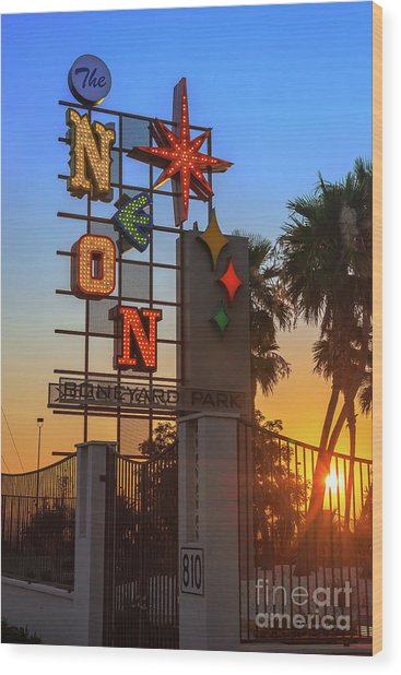 Neon Museum Sign At Sunrise Wood Print