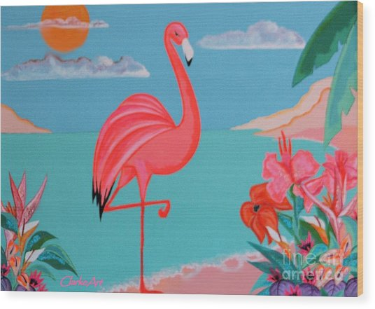 Neon Island Flamingo Wood Print