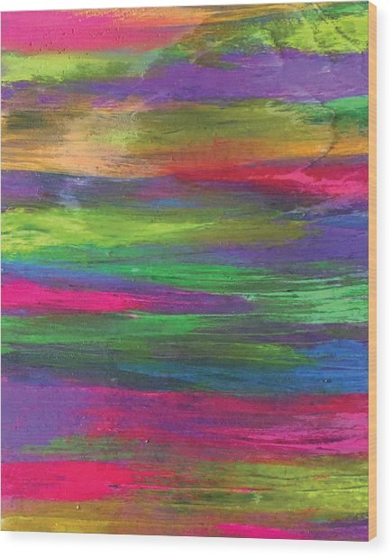 Neon Rainbow Wood Print
