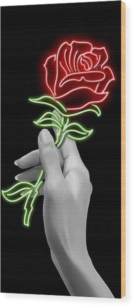 Neon Rose Wood Print