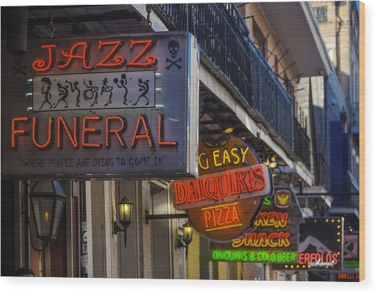 Neon Signs New Orleans Wood Print