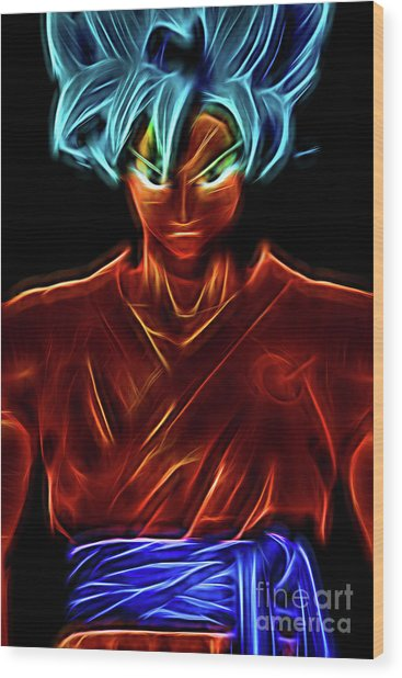 Neon Ss God Goku Wood Print