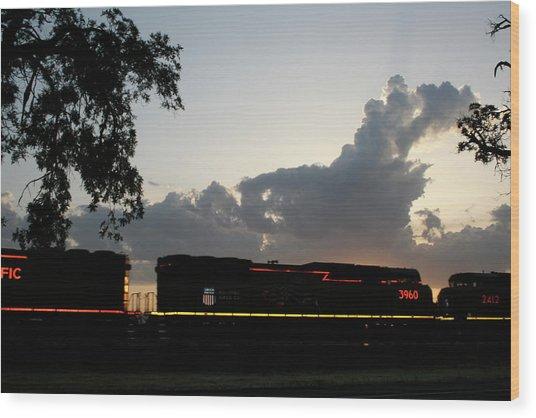 Neon Train Wood Print